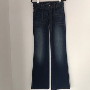 WHBM The Trouser Bootcut Belted Jeans